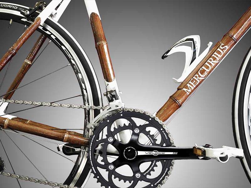 dettaglio movimento centrale, telaio in bamboo, biciclette Savona